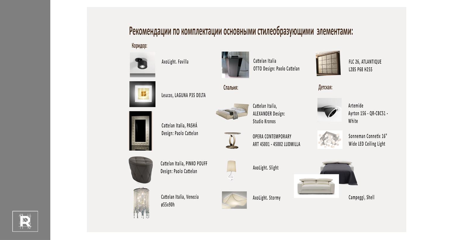 Пример - Рекомендации с картинками по освещению и мебели
