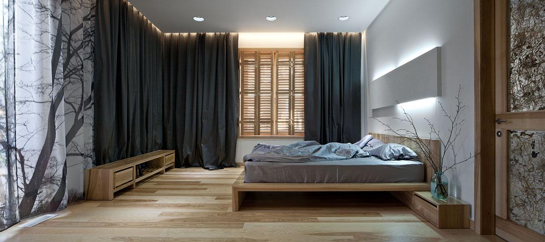 Фотография спальни с кроватью в эко стиле