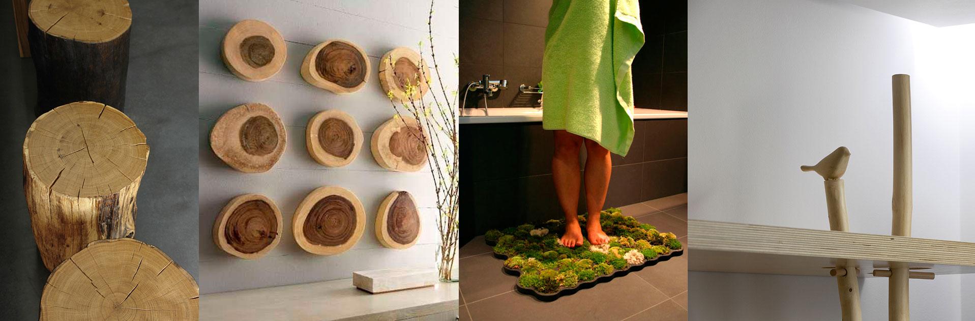Картинки интерьера со срезами дерева и ковриком из настоящего мха