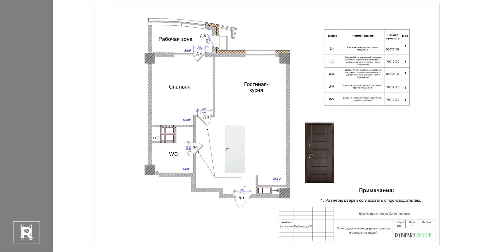 Пример - План дверей и проемов