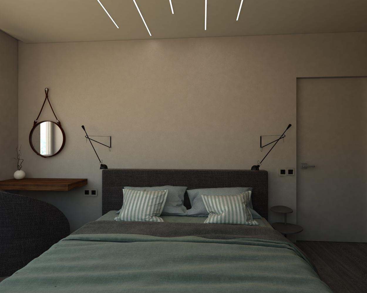Уютная современная спальня (дверь без наличника и современное освещение)