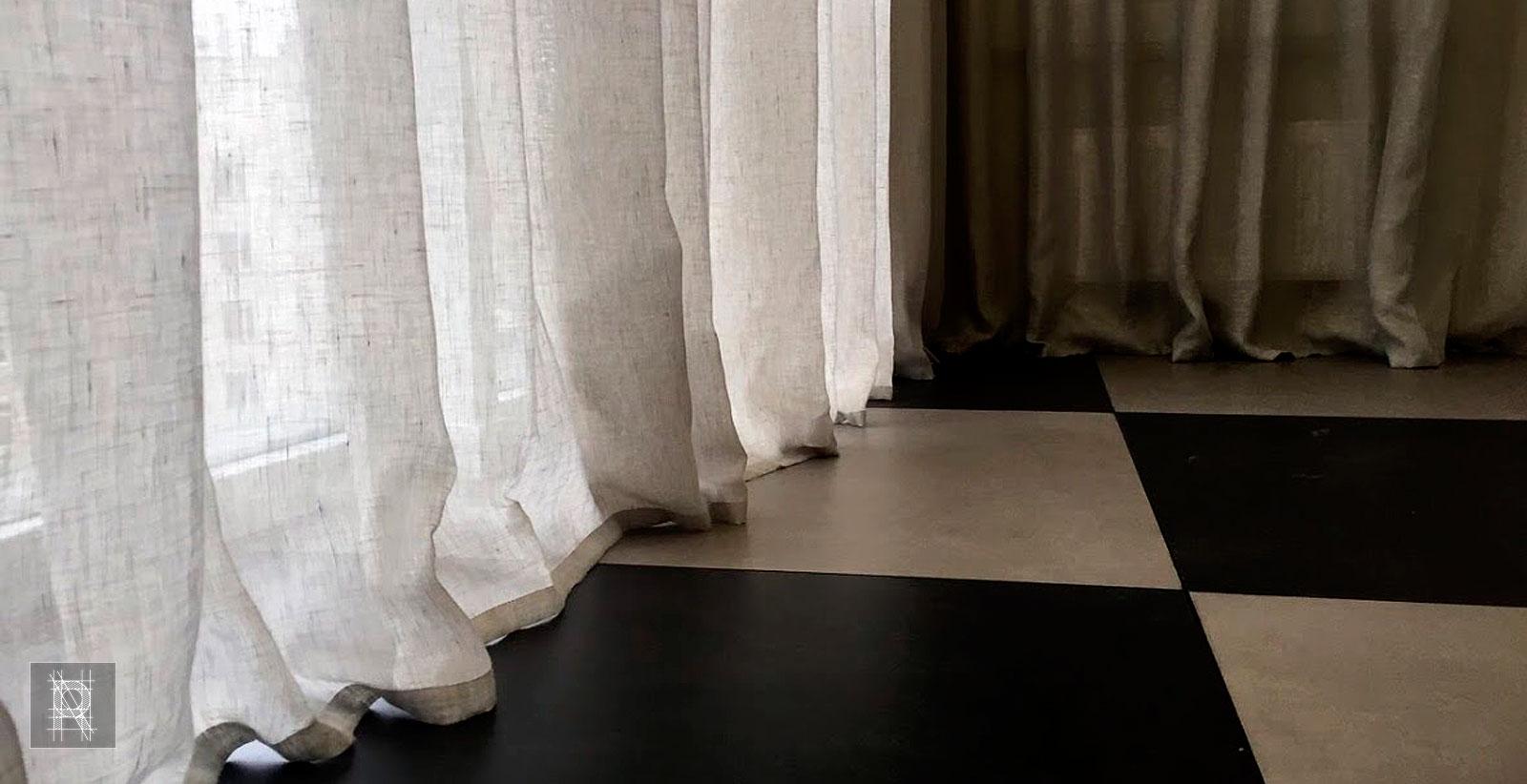 Фото с льняными шторами