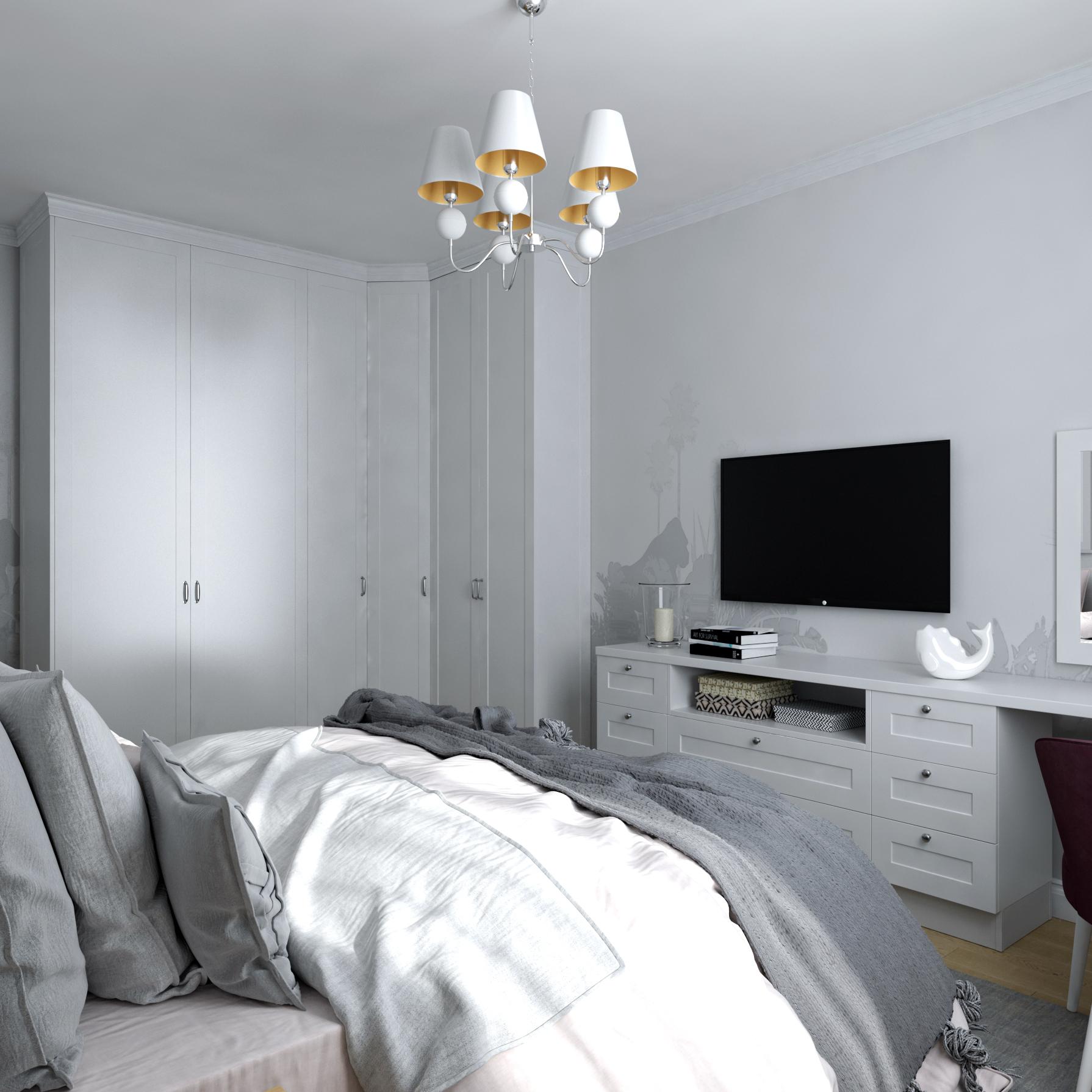 Картинка спальни в современном классическом интерьере