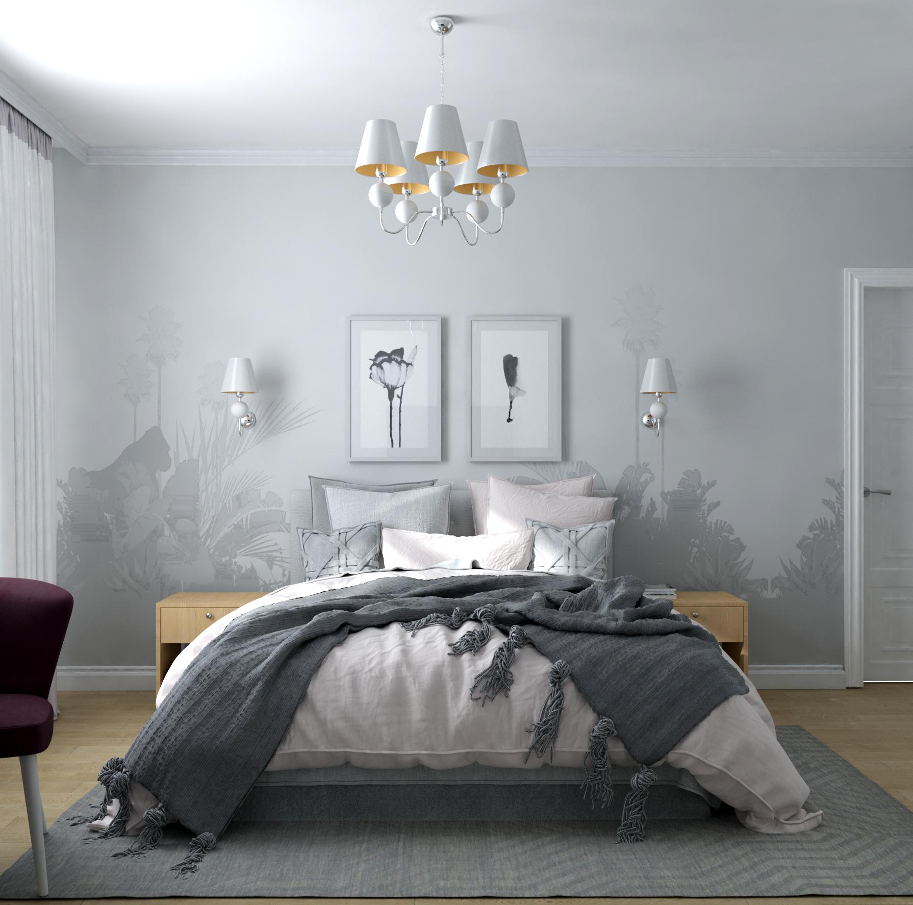 Картинка интерьера спальни с фотообоями