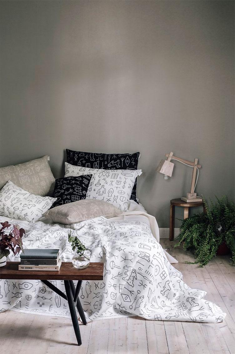 Фотография кровати в скандинавском стиле
