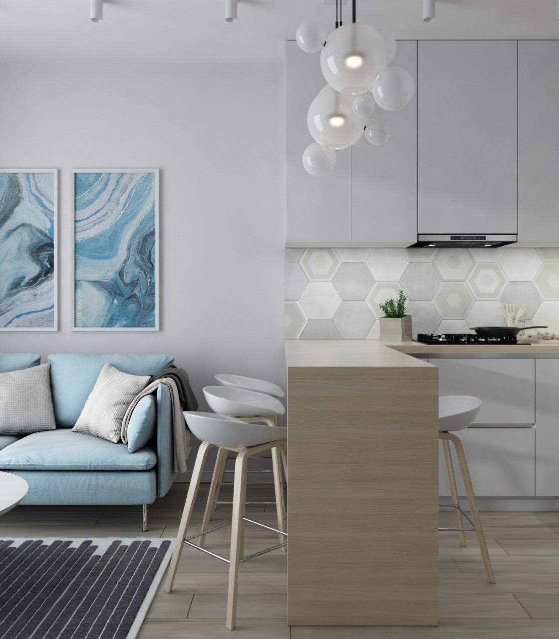 Картинка совмещённой кухни с гостиной