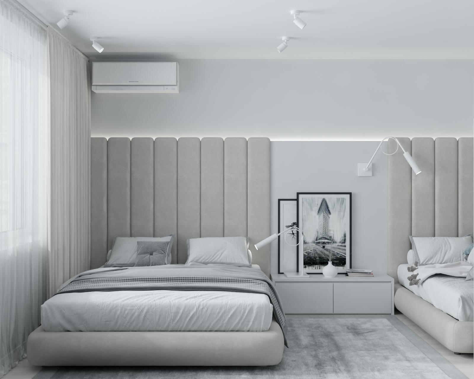 Изображение светлой спальни в минимализме