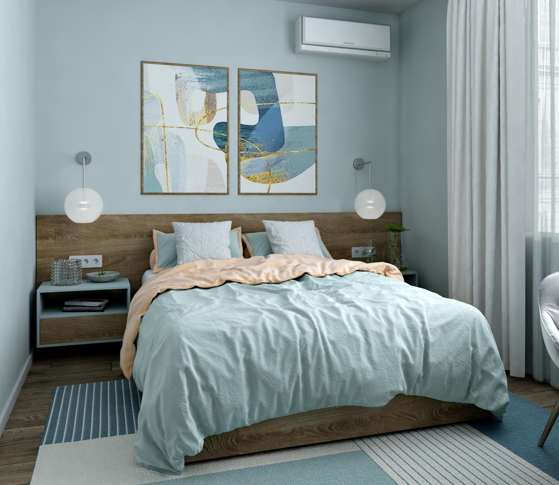 Картинка воздушной в голубых тонах спальни