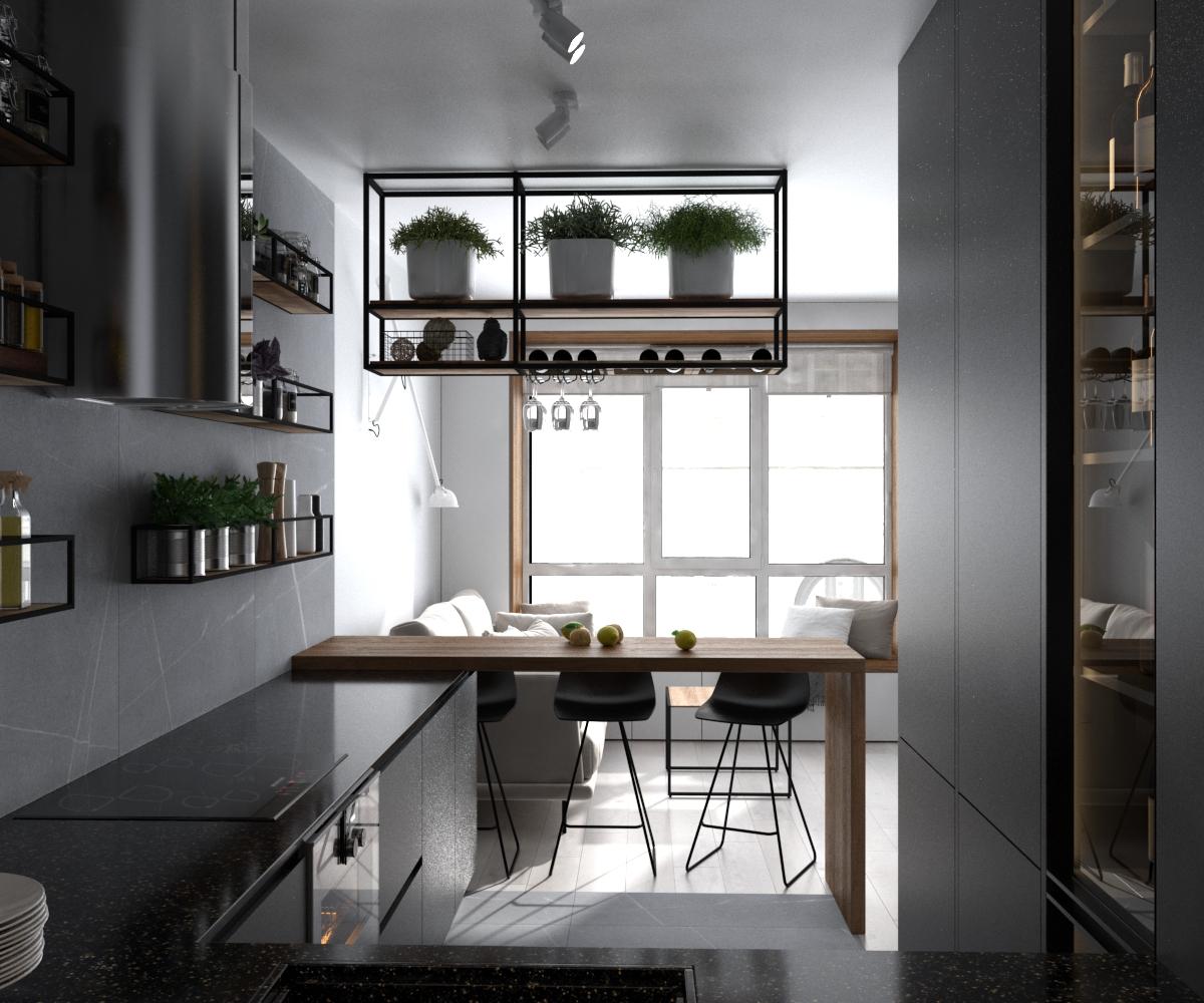 Изображение лофтовой кухни