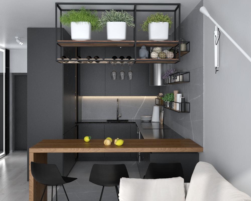 Картинка графитовой кухни