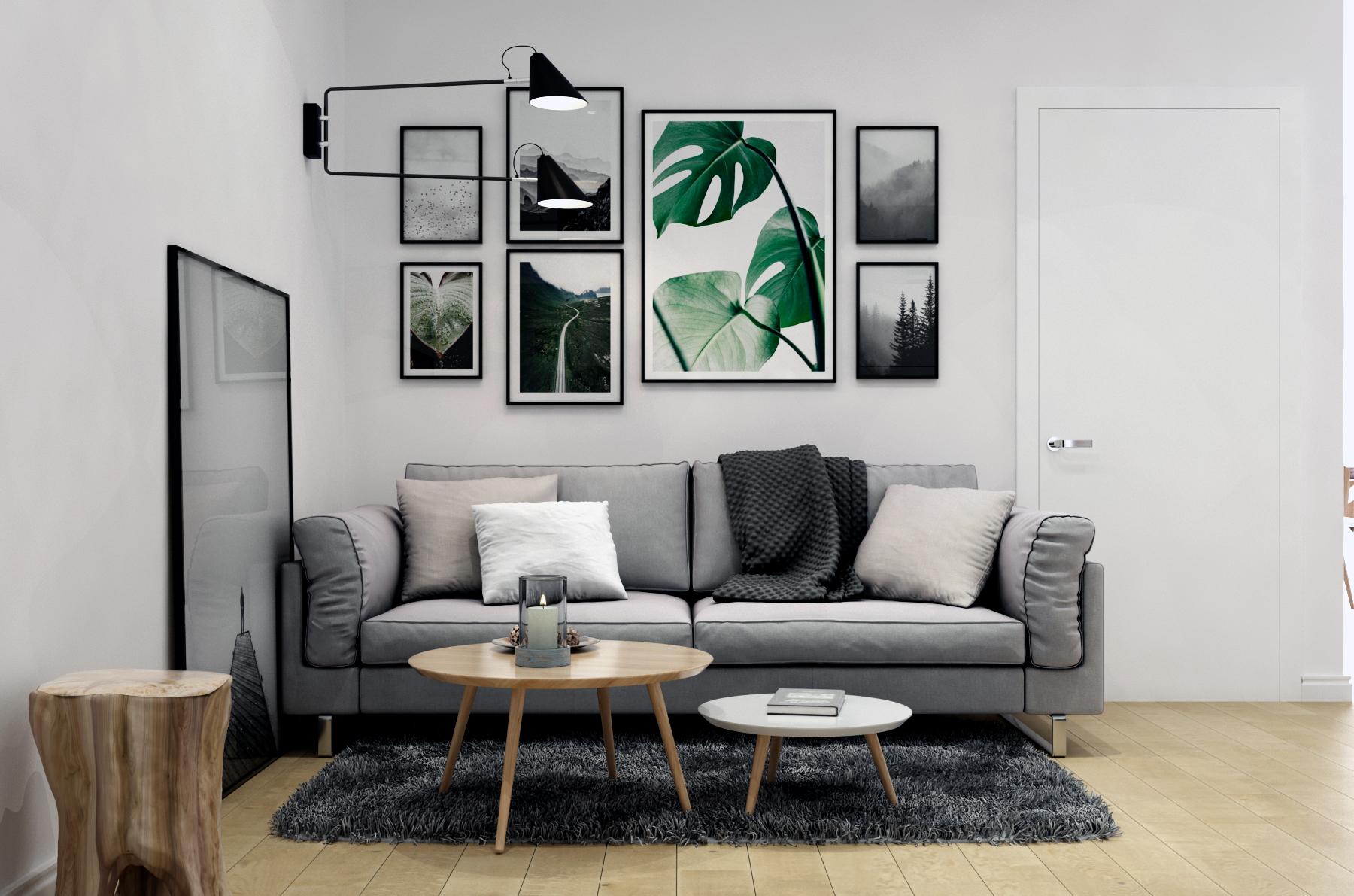 Картинка зоны дивана в гостиной в скандинавском стиле