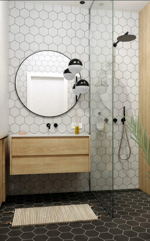 Картинка мастер-ванной с шестиугольной плиткой