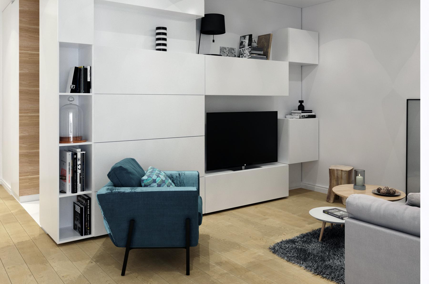 Фото гостиной с минималистичной мебелью в белом цвете