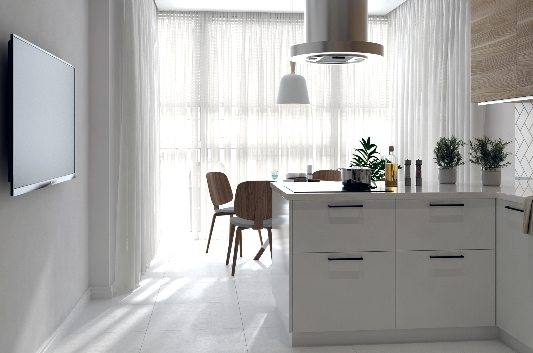 Картинка белой кухни в скандинавском стиле