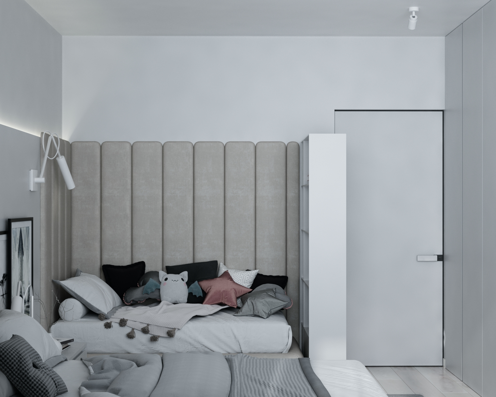 Картинка мягких панелей для кровати