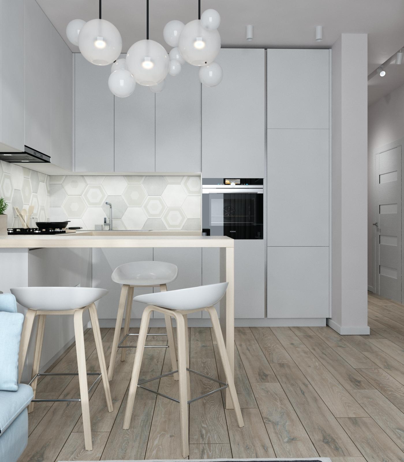 Картинка светлой кухни в скандинавском исполнении