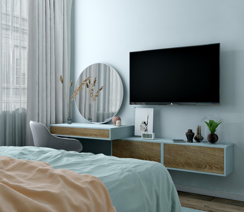 Фото спальни с индивидуальной мебелью