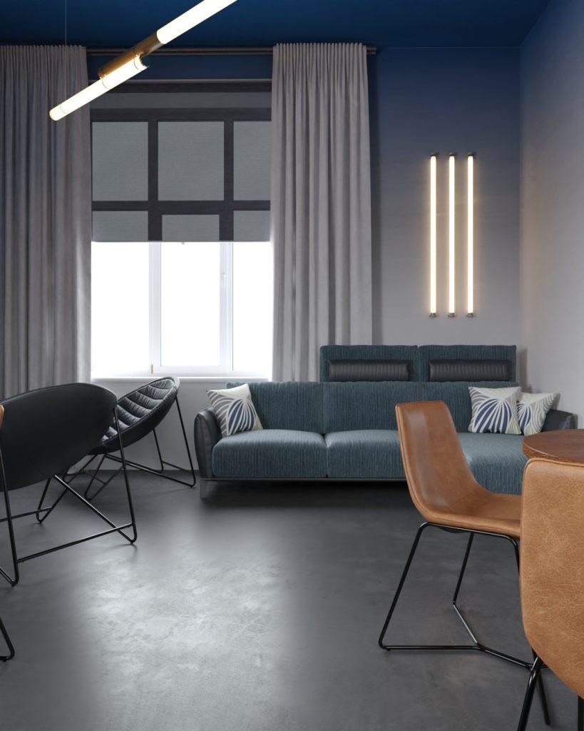 Фото дивана и обеденных столиков офиса