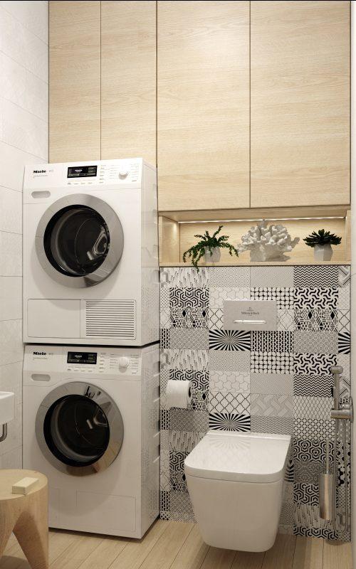 Изображение с размещением сушки на стиральной машине
