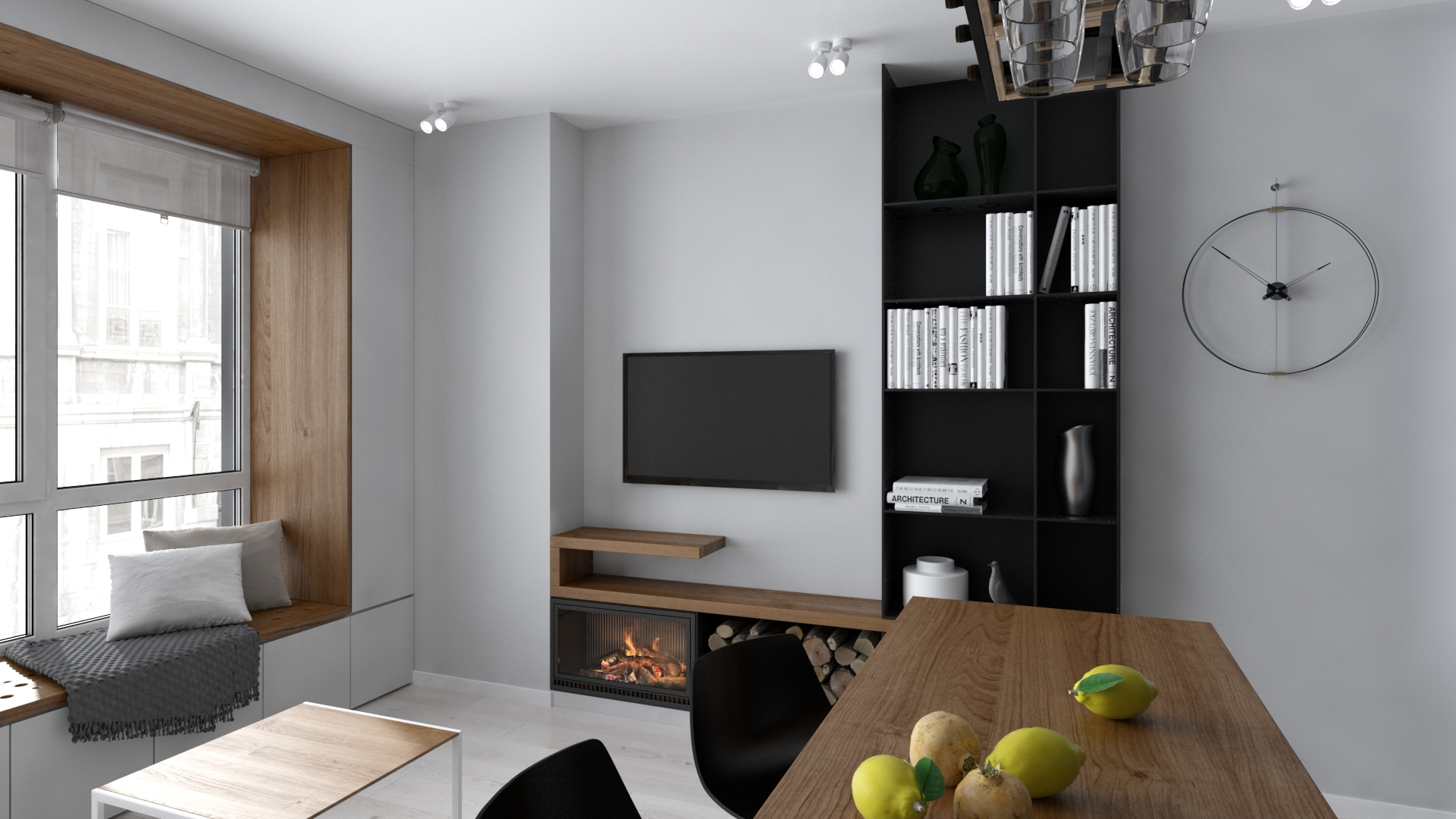 Изображение гостиной в мягком минималистичном дизайне